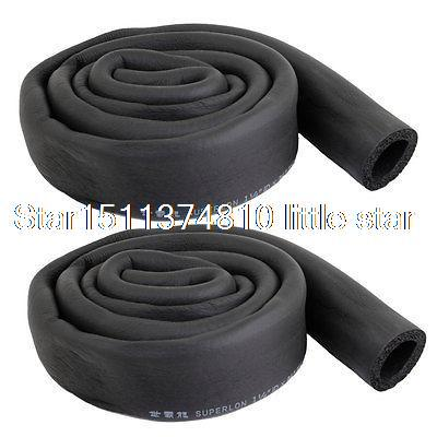 2 Pcs Air Conditioner Foam Thermal Insulation Pipe Protecting Black 10x1mm soft coil copper tube pipe air conditioner refrigeration systems