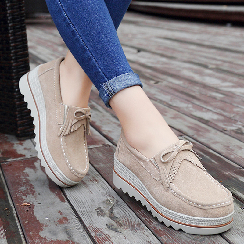 fd29f24561 YZHYXS platform shoes for women slip on loafers suede cow leather breathable  comfortable fashion womens walking casual shoes-in Women's Flats from Shoes  on ...