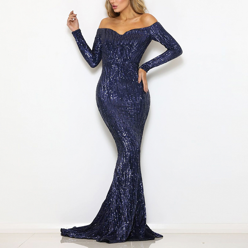 Navy Sequined Maxi Dress Stretch Slash Neck Champagne Gold Evening Party Dress Off The Shoulder Full