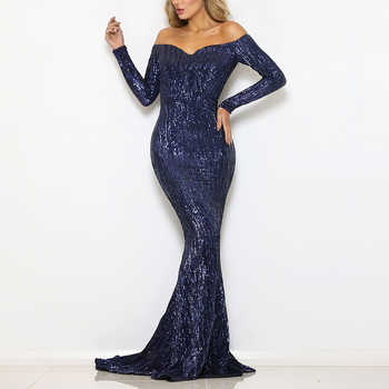 Navy Sequined Maxi Dress Stretch Slash Neck Champagne Gold Evening Party Dress Off The Shoulder Full Sleeved Dress - DISCOUNT ITEM  45% OFF All Category