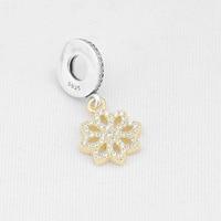 925 Sterling Silver Beads Charms Vàng Hoa Pha Lê Mặt Dây Chuyền Phù Hợp Với Phụ Nữ Gốc Pandora Charms Bracelet & Bangle XCY123