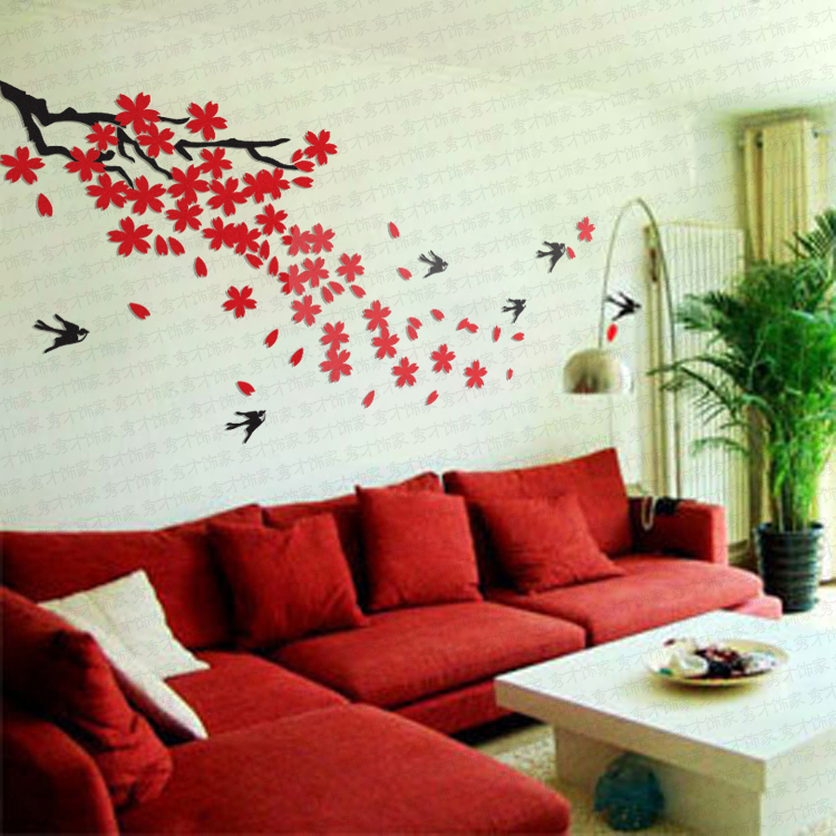 Ikea Style Crystal 2mm Thick Three Dimensional Cherry Swallow Wall Sticker Wall  Decor Home Decor Wall Art Tile Stickers In Wall Stickers From Home U0026 Garden  ...