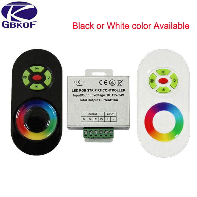 DC 12V-24V Wireless RF Touch Panel Dimmer RGB Remote Controller 18A RGB Controller for 3528 5050 RGB LED Strip Light цена