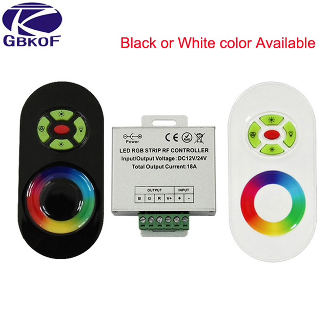fb5786d6e6f DC 12V-24V Wireless RF Touch Panel Dimmer RGB Remote Controller 18A RGB  Controller for 3528 5050 RGB LED Strip Light
