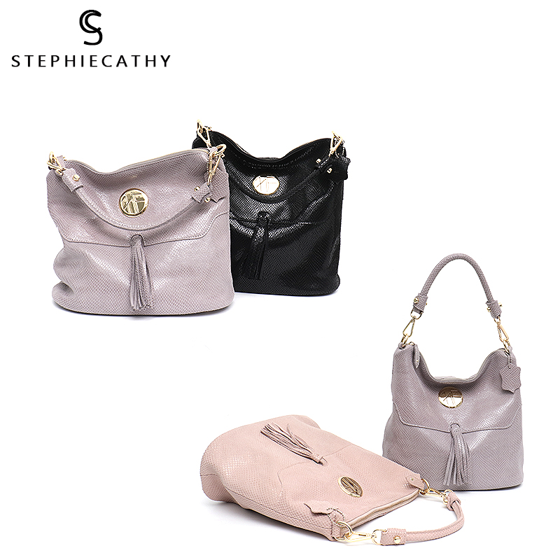 SC Brand Luxury Women Leather Shoulder Bags Female Tassel High Quality Hobo Handbag Large Soft Girls Purse Messenger Bags-in Shoulder Bags from Luggage & Bags    3