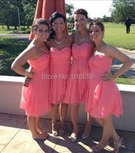 Chiffon Sweetheart Pleat Charming Knee Length Chiffon Bridesmaid Dresses