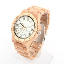 Natural wood Watch Men Fashion Casual full light  Wooden unisex Vegan Quartz Wrist handmade watch Japanese movement WA-69-5608D