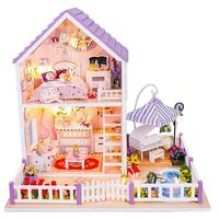 DIY Wood Doll House Romantic Purple House With Furniture Handmade Craft Miniature Model For Kid'S Birthday Present