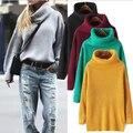 Nuevas mujeres de primavera otoño invierno espesar cuello alto jersey de punto suéteres mujeres suéteres largos vestidos suéter sueltos
