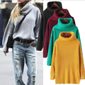 new women's spring autumn winter thicken turtleneck pullover knitted sweaters women long loose sweater dresses