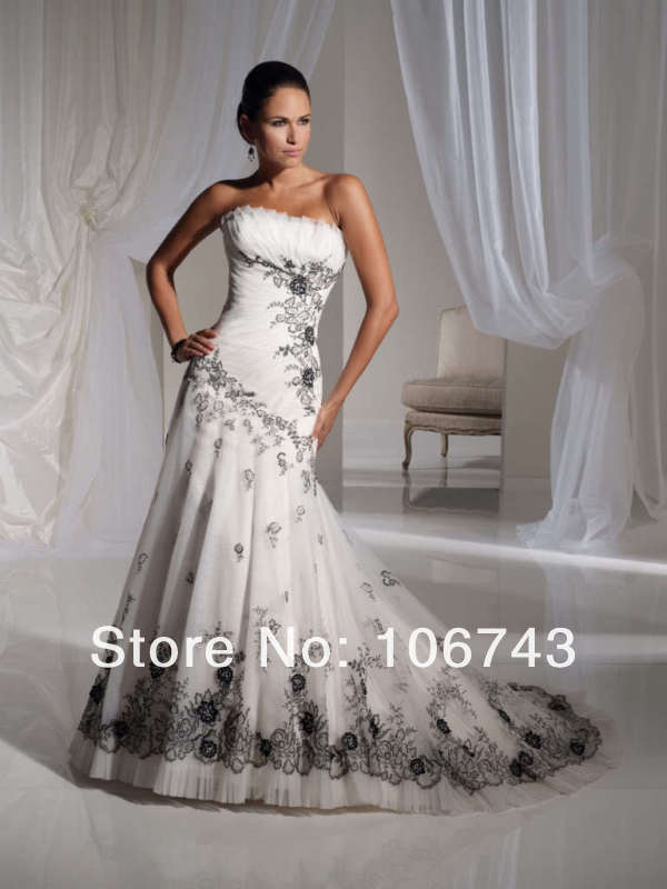 free shipping 2016 new style Sexy bride wedding Custom size embroidery princess natural wedding dress in Wedding Dresses from Weddings Events