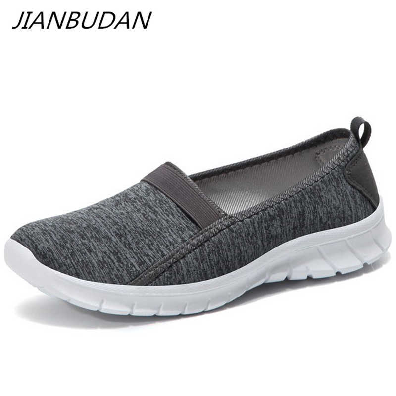 JIANBUDAN/軽量スニーカー夏の女性の屋外クロール靴通気性のフラットカジュアル女性のウォーキングシューズ 36-45