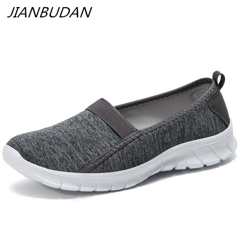 JIANBUDAN/ Lightweight Sneakers Summer Women's Outdoor Crawling Shoes Breathable Flat Casual Shoes Female Walking Shoes 36-45
