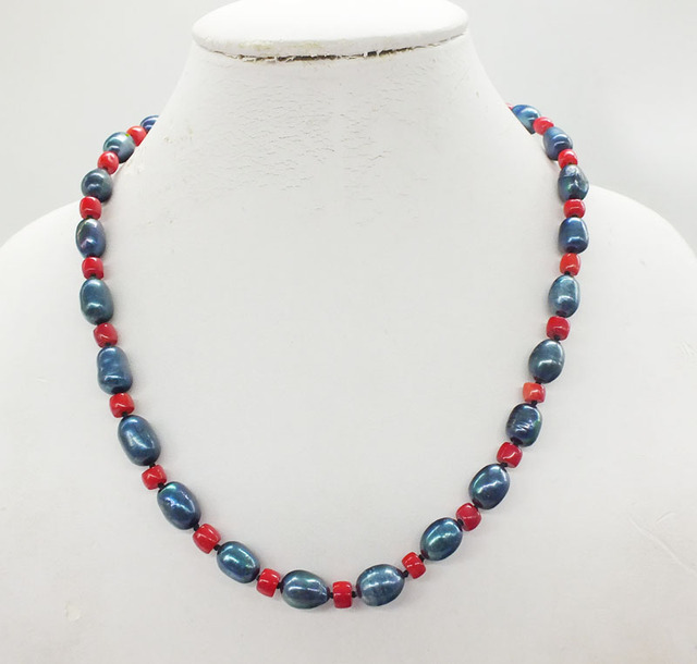 Factory wholesale. 1PCS, free shipping, 8-9MM natural black freshwater pearls and red coral, classic ladies necklace 19″