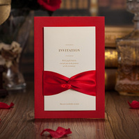100Pcs Red Laser Cut Wedding Invitation Card Greeting Card With Ribbon Personalized Custom Wedding Print Event
