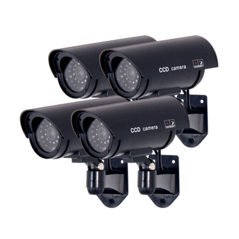 4pcs/lot CCTV Security  Dummy Fake Camera Flashing LED Indoor Outdoor Deterrent Black Dummy IR Cameras white black dummy camera fake dome cctv camera indoor outdoor red led flashing light for home security for christmas