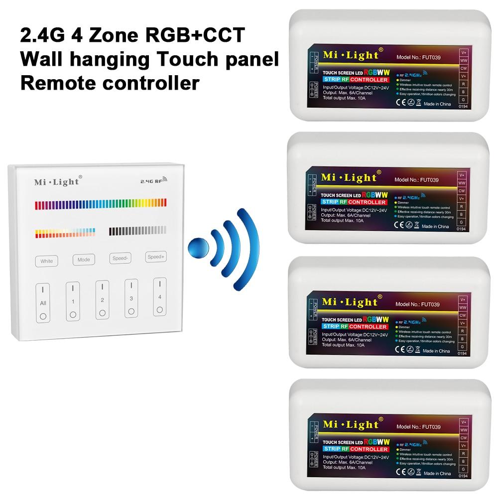 Mi Lumière 2.4G RGB + CCT Tenture LED Tactile Panneau À Distance contrôleur + 2.4G RGB + CCT LED Contrôleur pour Led Bande Ampoule Downlight