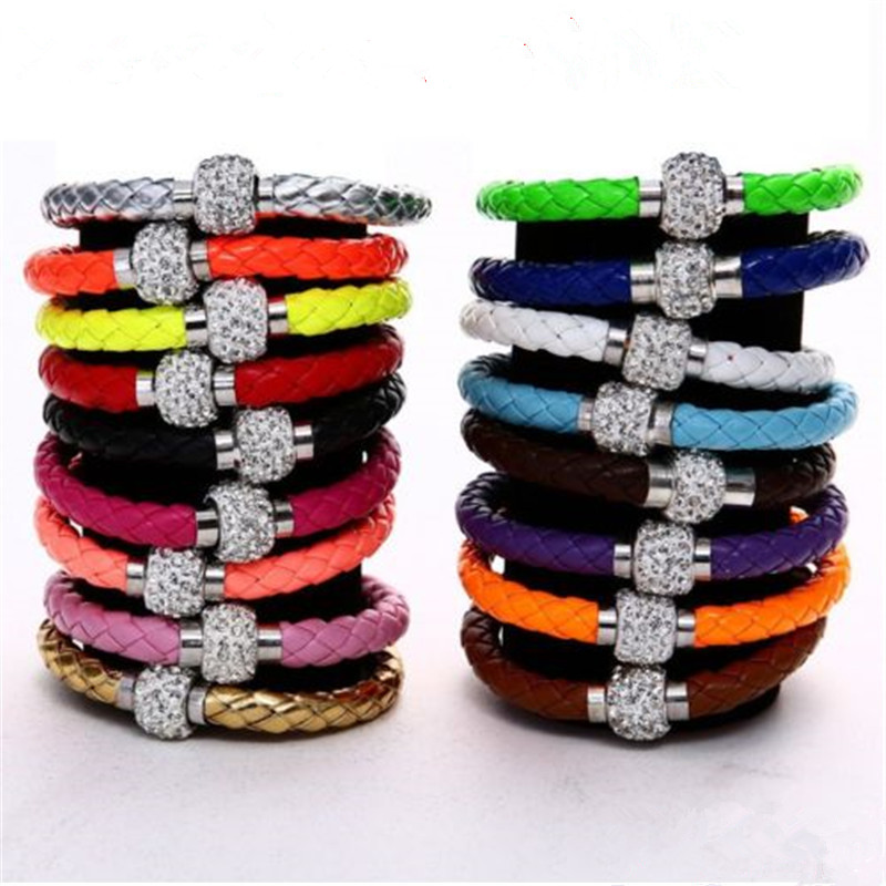 2016 New Magnetic Buckle +Leather Cord Black Multilayer Bracelet Fashion Jewelry Ladies Favorite