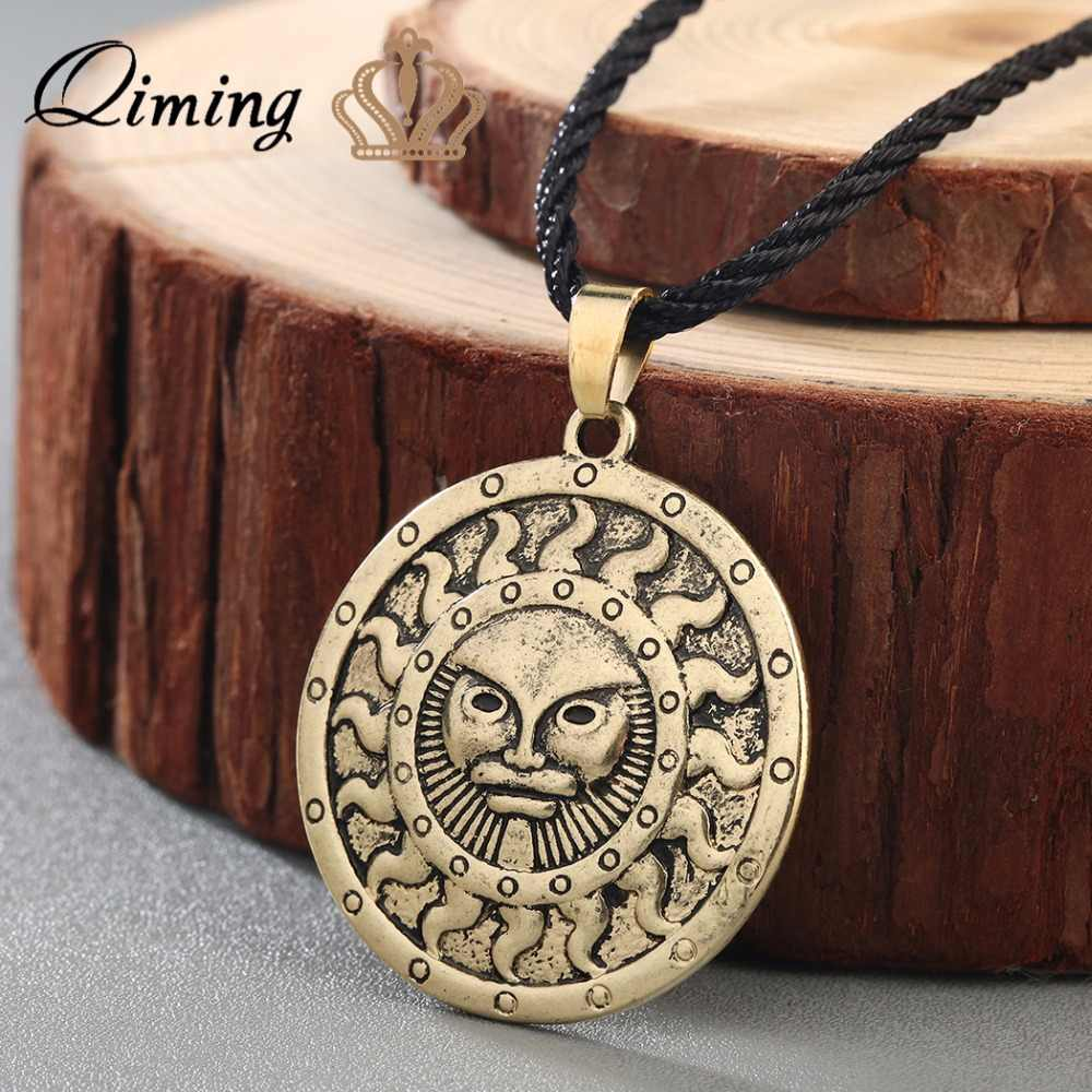 QIMING symbol of the God Yarila Spring Sun Slavic Necklace Charm Amulet Pendant Antique Silver Pagan jewelry Necklace Women