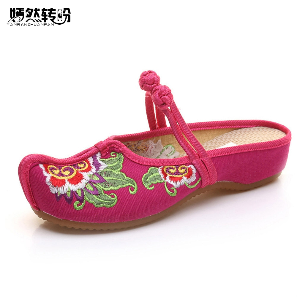Vintage Women Shoes Thailand Style New Linen Classis Chinese Embroidered Old BeiJing Flowers Sandals Slippers Size 35-41 new women chinese traditional embroidered shoes f002