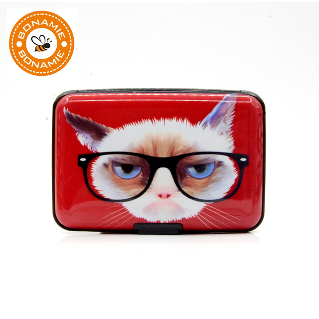 BONAMIE Aluminum Card Case Red Glasses Cat Pattern RFID Wallet Cartoon Travel Credit Card Holder For Girls Anti-RFID Scanning