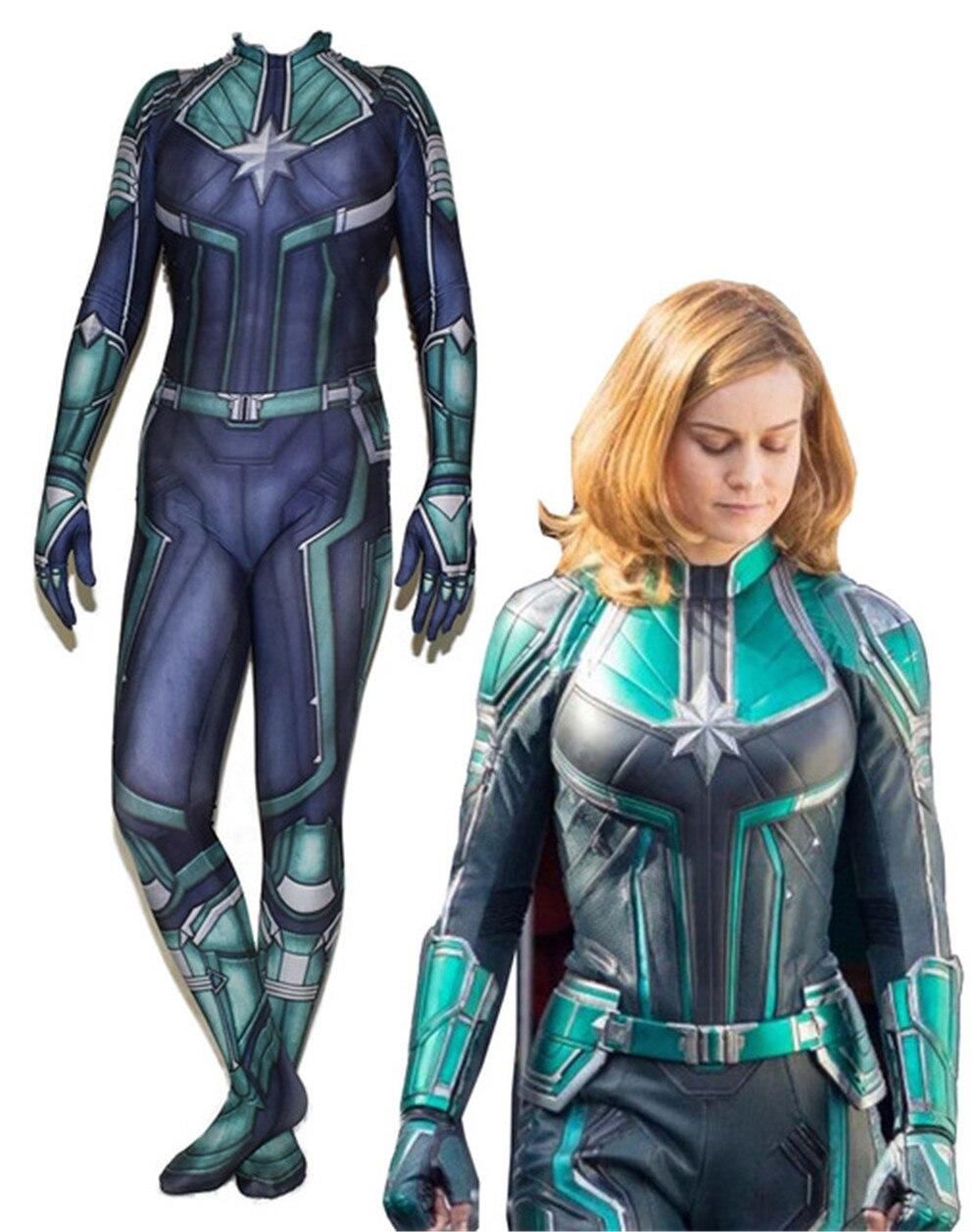 Avengers Woman Captain Ms Carol Danvers Cosplay Costume hero Bodysuit Suit Jumpsuits for Halloween Purim