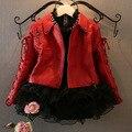 Menina de couro falso vermelho fresco couro jakcet para miúdos e crianças jaqueta casaco de inverno outwear roupas de inverno luva cheia