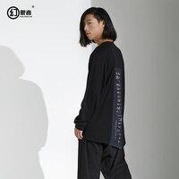 original designer brand men's dark black department spring personality back stitching printed long sleeved T shirt