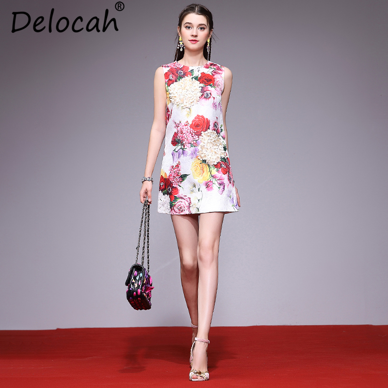 Delocah Autumn Women Dress Runway Fashion Designer Sleeveless Gorgeous Beading Appliques Flower Printed A-Line Lady Dresses