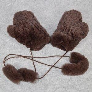 Image 5 - Sıcak satış kış gerçek kürk eldiven kadın elastik el yapımı örgü gerçek Rex tavşan kürk eldiven açık doğal Rex tavşan kürk eldivenler