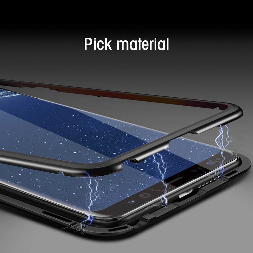 Eqvvol 磁気吸着サムスンギャラクシー S9 S8 プラス S7 エッジ強化ガラスバックマグネットカバーのため 8 9 ケース