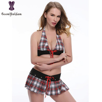 Newest Sexy Lingerie For Women Sexy Backless Short Skirts Underwear Ladies Scottish Style Plaid Dress Suit