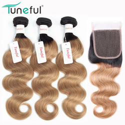 T1B/27# Honey Blonde Hair Bundles With Closure Tuneful Professional Colored Remy Weaves Human Hair Ombre Bundles With Closure