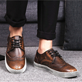 men large size casual breathable dress genuine leather bullock shoes comfort wedding party nightclub platform flats shoe brogue
