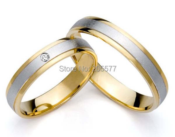 classic two tone style gold plating surgical titanium stainless steel engagement wedding bands couples rings Jewelry settings alliances china wholesaler simple classic designs two tone classic domed titanium wedding band rings