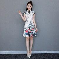 Asian Female Fashion Dress Chinese Classic Slim Short Qipao Mandarin Collar Print Floral Cheongsam Satin Summer Vestidos
