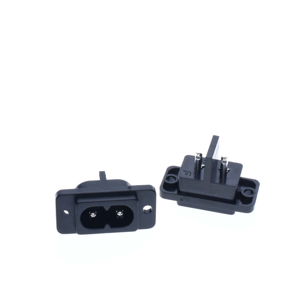 2Pin Black AC Power Socket Connector IEC 320 C8 Replacement AC Electrical Sockets