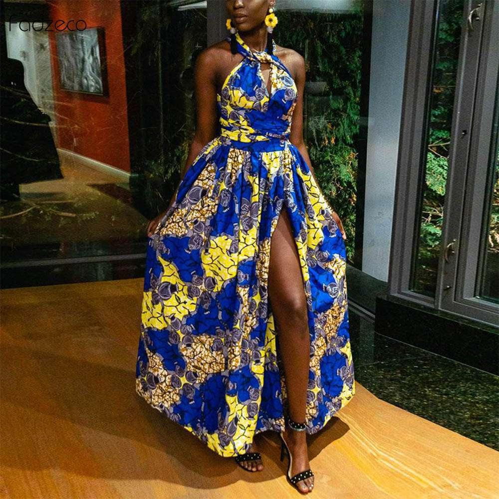 Fadzeco New African Dresses For Women Clothes Patterns Ankara Dashiki Outfits African Print Jumpsuit Hem Maxi Dress Front Slit