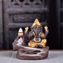 Ganesha Backflow Incense Burner Elephant God Emblem Auspicious and Success Ceramic Cone Censer Home Decor With Gift