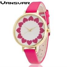Vansvar Luxurious Model Flower Quartz Watch Ladies Leather-based Strap Informal Watches Vogue Wristwatch Clock Women Relogio Feminino V03