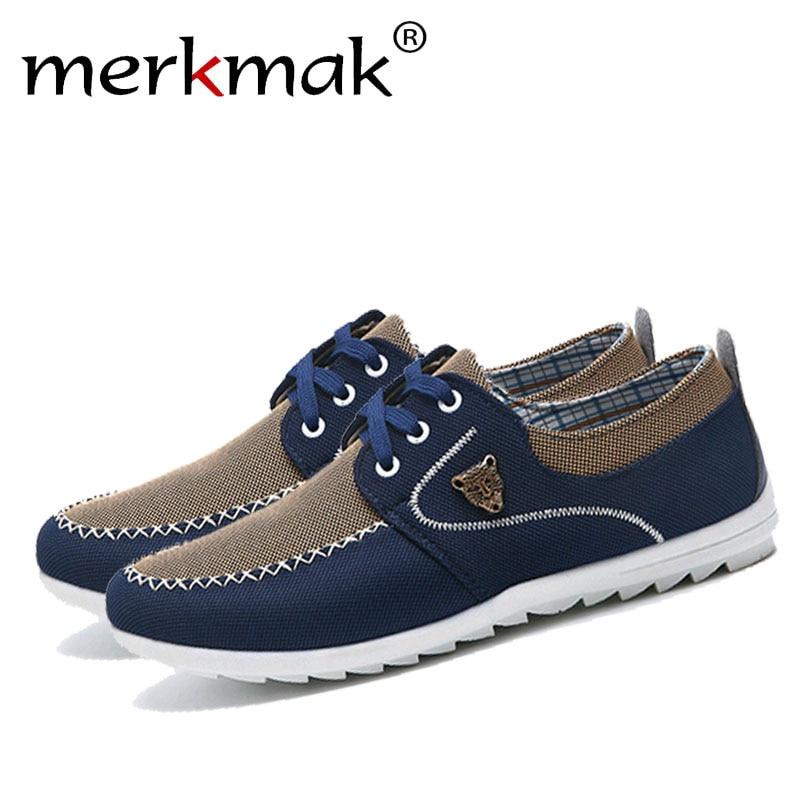 Merkmak verano hombres zapatos de lona de tendencia zapatos casuales de los hombres masculinos bajo tablero Outwear transpirable conducción zapatos grandes tamaño 48