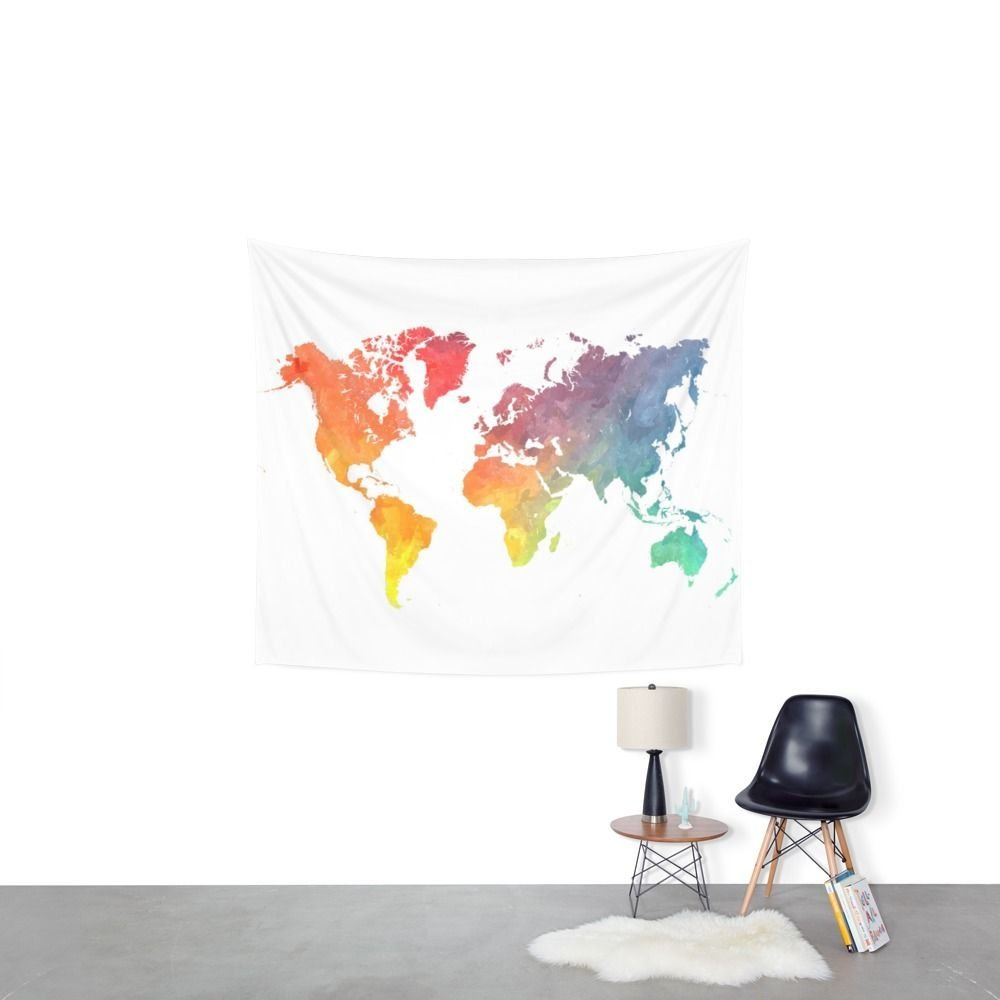 Map Of The World Colored Wall Tapestry Wedding Party Gift Bedspread Beach Towel Yoga Picnic Mat