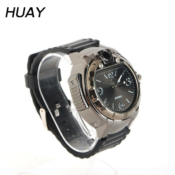 1pcs 2018 hot Lighter Watch for Man fashion Military Novelty Sports Refillable Gas Cigarette Cigar casual Quartz Watches AHM07