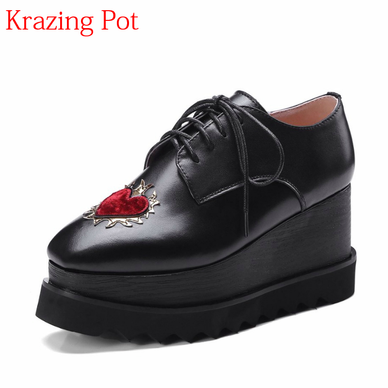 2018 Handmade Large Size Genuine Leather Shoes Square Toe Women Pumps Love Patterns Lace Up Wedges Increased Casual Shoes L63 casual increased internal and lace up design athletic shoes for women