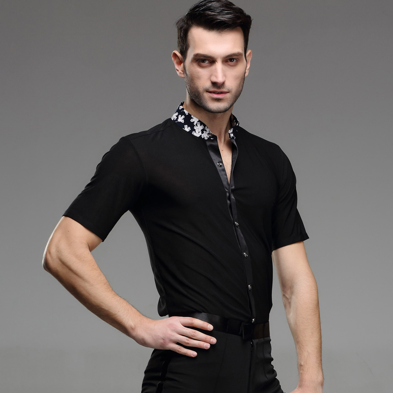 Picture of 2016 New Man Latin Dance Chacha Rumba Samba Square Dance Clothes Long Sleeves Shirt Male Adult Modern Dance Costume Contest