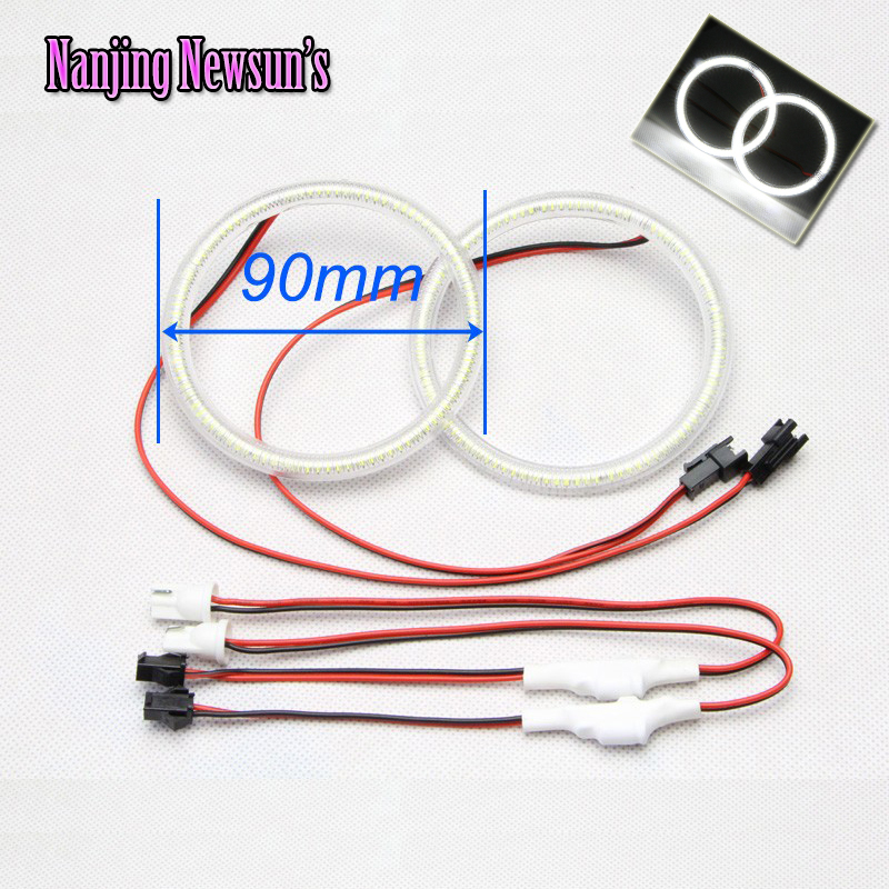 2Pieces(1Pair) Auto Halo Rings 90MM Angel Eyes 12V Headlight SMD Car Angel Eyes Motorcycle DRL Daylight Halo Rings White Light 1 pair massage slipper 2 pieces 2 pin
