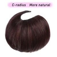 U Part Hair Extension Toupee Straight Artificial Human Hair Material Hair Hand made Natural Black Top Hair