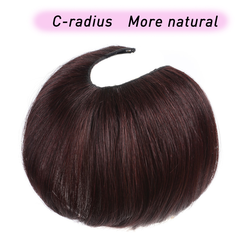 U Part Hair Extension Toupee Straight Hair Synthetic Material Hair Hand made Natural Black Top Hair