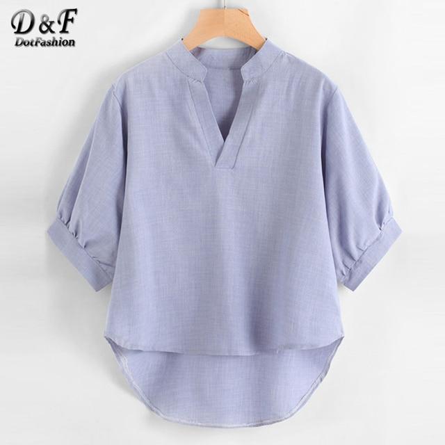 04b5e7b991809 Dotfashion Lantern Sleeve Dip Hem Blouse Women Blue Stand Collar V Neck  Half Sleeve Office Shirt 2019 New Female Summer Tops