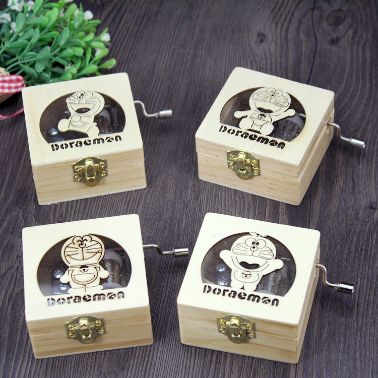 Doraemon cartoon cat hand wooden music box